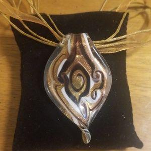 Handblown Murano Glass Copper/Gold Cord Necklace